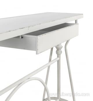 Consola Metal Blanco 1 Cajón (123x33x80) - 1