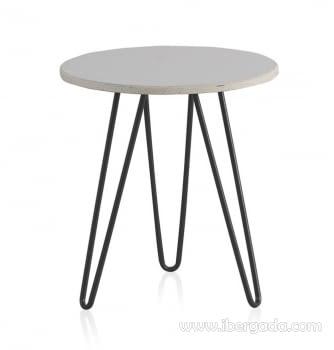 Mesa Auxiliar Marmol Metal Blanco/Negro  (45x45x51)