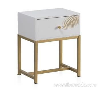 Mesita Loira Madera Blanca/Oro 1 Cajón (40x30x50)