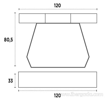 Consola Urus Nogal/Negro (120x33x80) - 3