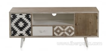 Mueble TV Carlton Madera Natural 2 Cajones 2 Puertas 1 Hueco (135x40x56) - 2