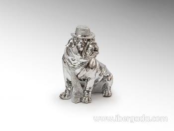 Figura Bulldog Hat Cromo Pequeño - 2