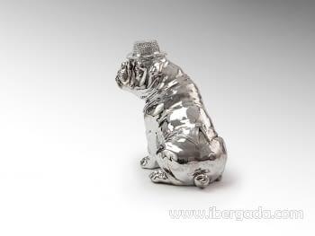 Figura Bulldog Hat Cromo Pequeño - 3