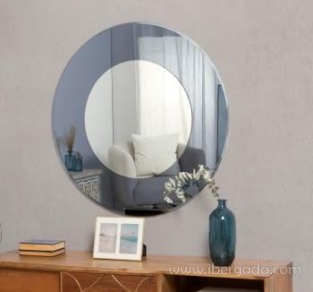 Espejo Redondo Gris Azul (97x97)