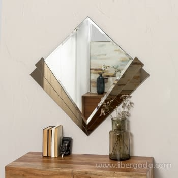Espejo Redondo Art Deco Marrón (90x90)