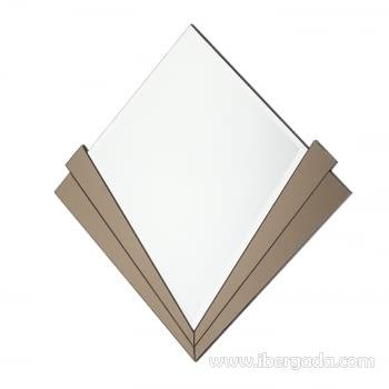 Espejo Redondo Art Deco Marrón (90x90) - 4