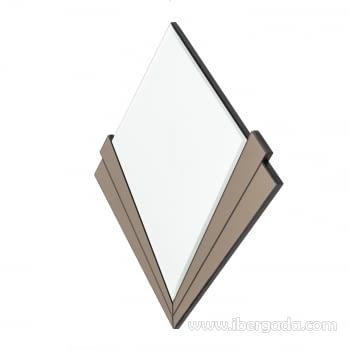 Espejo Redondo Art Deco Marrón (90x90) - 5