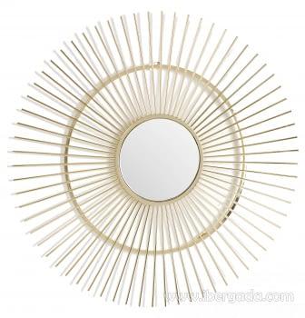 Espejo Metal Sol Dorado (78x78)