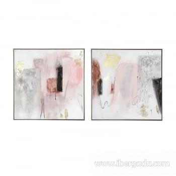 Juego de 2 Cuadros Abstractos Oleo (70x70) - 1
