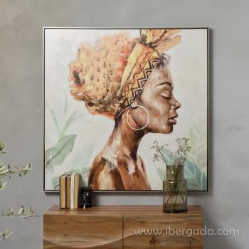 Cuadro Oleo Africana IV (100x100)