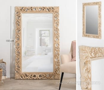 Espejo Rectangular Barroco Crema (155x95)