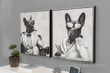 Juego de 2 Cuadros Bulldog Oleo (60X60) - 1