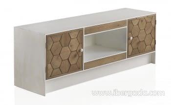Mueble TV Magnolia 2 Puertas 2 Cajones Blanco (140x40x50)