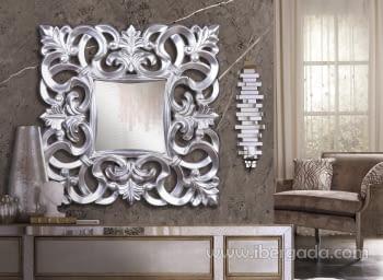 Espejo Barroco Cuadrado Plata (80x80)