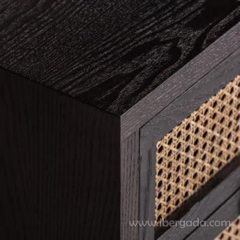 Mesita Kenia Negra 2 Cajones (45x40x55) - 4