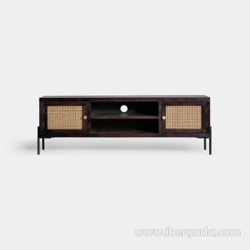 Mueble TV Kenia Negro 2 Puertas (150x40x50)