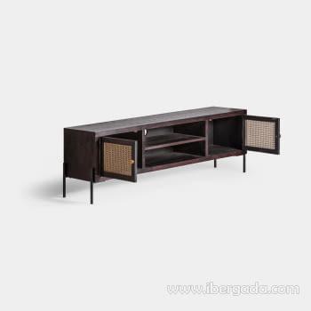 Mueble TV Kenia Negro 2 Puertas (150x40x50) - 1