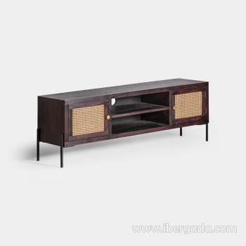 Mueble TV Kenia Negro 2 Puertas (150x40x50) - 2