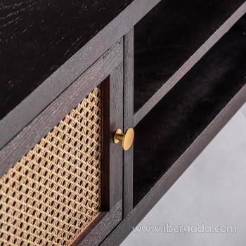 Mueble TV Kenia Negro 2 Puertas (150x40x50) - 4
