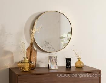 Espejo Redondo Dorado (50x50)