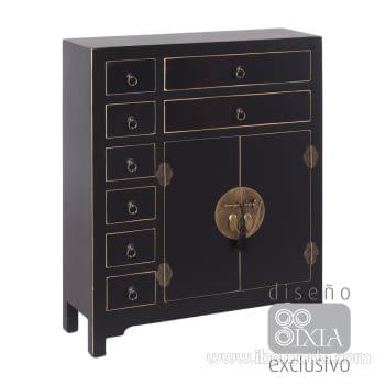 Mueble Auxiliar Oriente Negro/Oro 8 cajones 2 puertas (73x26x90)
