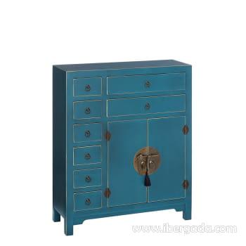 Mueble Auxiliar Oriente Azul/Oro 8 cajones 2 puertas (73x26x90)