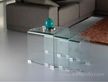 Juego de 3 Mesas Nido Transparente