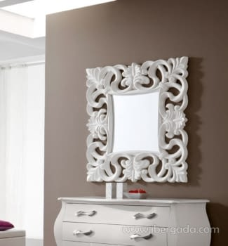 Espejo Cuadrado Barroco Blanco (100x100)