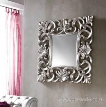 Espejo Cuadrado Barroco Plata (100x100)