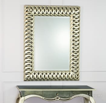 Espejo Rectangular Calado Plata (125x95)