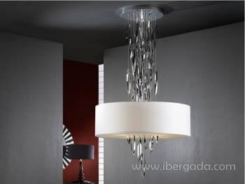 Colgante Domo Cromo/Blanco LED