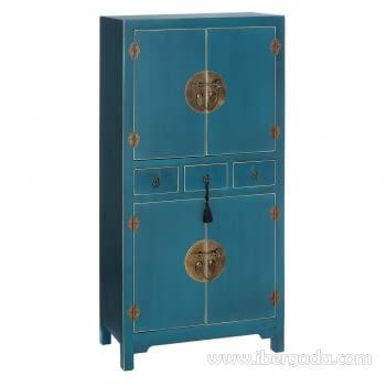 Mueble Auxiliar Oriente Azul 4 puertas y 3 Cajones
