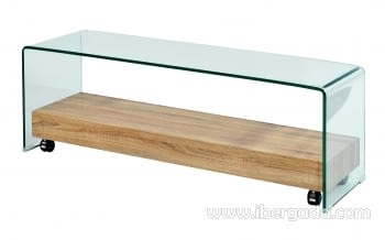 Mesa de TV Cristal/Roble