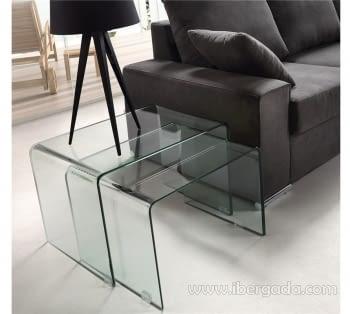 Juego de 2 mesas nido Cristal Transparente