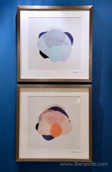 Cuadro Abstracto Naranja Marco plata (50x50) - 1