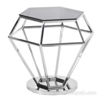 Mesa Auxiliar Diamante Acero/Cristal Negro (48x42)