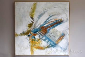 Cuadro Abstracto con Marco madera I (100x100)