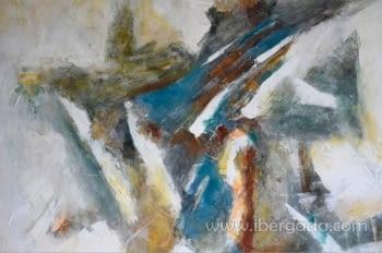 Cuadro Abstracto con Marco madera II (100x100) - 1