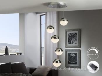Lampara Sphere 5L Cromo Dimable con Mando (33x33)