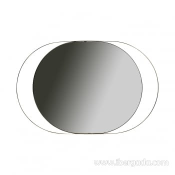 Espejo Oval White Fussion Gold Oro (110x70)