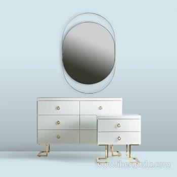 Espejo Oval White Fussion Gold Oro (110x70) - 2