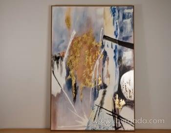 Cuadro Abstracto con Marco Madera (135x90)