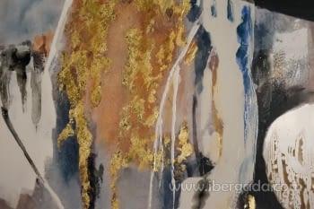 Cuadro Abstracto con Marco Madera (135x90) - 1