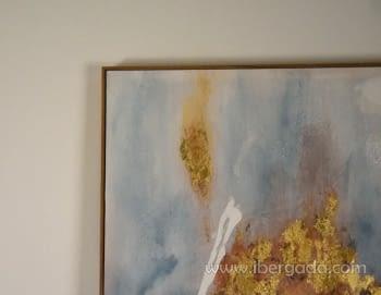 Cuadro Abstracto con Marco Madera (135x90) - 2