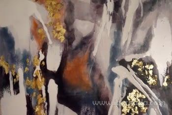 Cuadro Abstracto con Marco Madera II (135x90) - 1