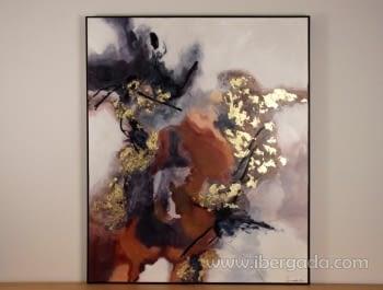Cuadro Abstracto con Marco Negro (120x100)