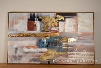 Cuadro Abstracto con Marco Madera (150x90)