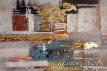 Cuadro Abstracto con Marco Madera (150x90) - 1