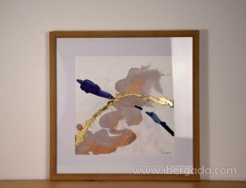 Cuadro Abstracto con Marco Madera I (60x60)