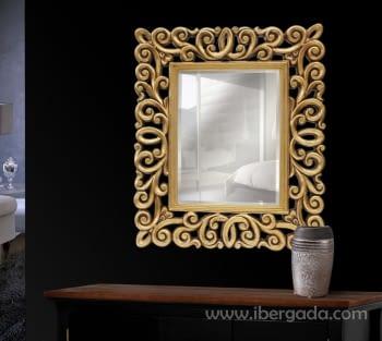 Espejo Chacana Rectangular Oro (80x67)